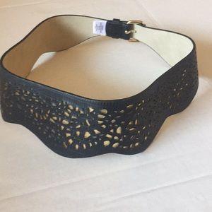 BCBG MaxAzria Black and Gold Dye Cut Peplum Belt